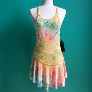 UNIF Rainbow Tie Dye Crushed Velvet Tie-Back Dress
